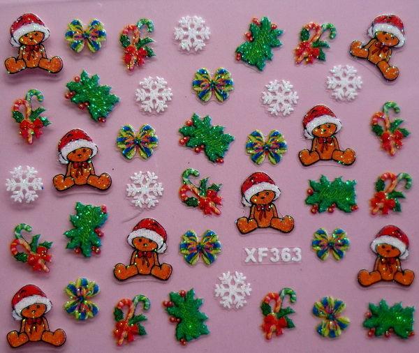 Christmas Tree Snow Design 3D Nail Art Stickers Sheet Decal