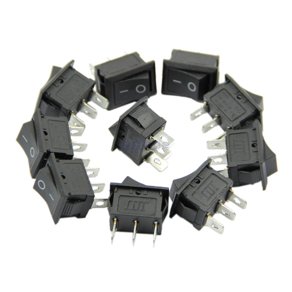 AC-6A-250V-10A-125V-3-Pin-Snap-in-On-Off-Boot-Wippschalter-Schwarz-Anschluss