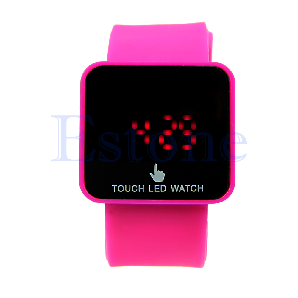 unisex colorful led digital touch screen silicone date