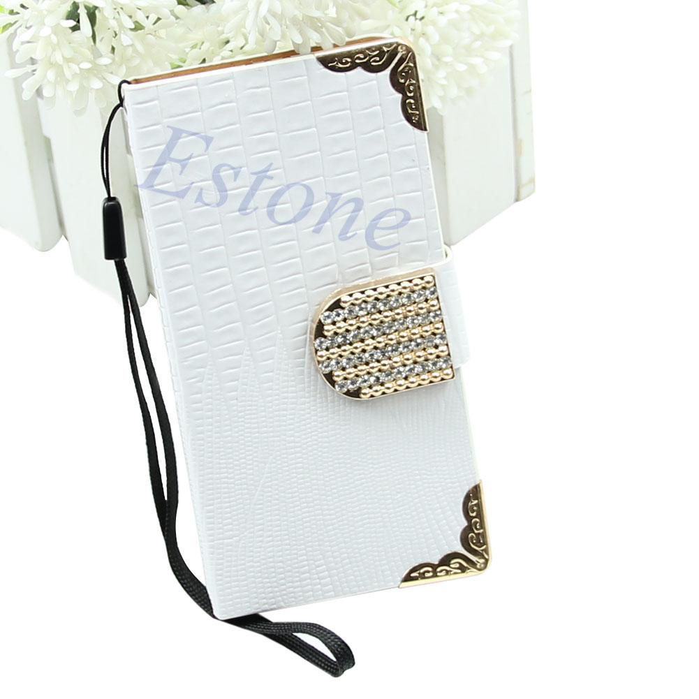 Fashion Leather Shining Crystal Flip Wallet  Bling Cover Case For iPhone 4 4G 4S