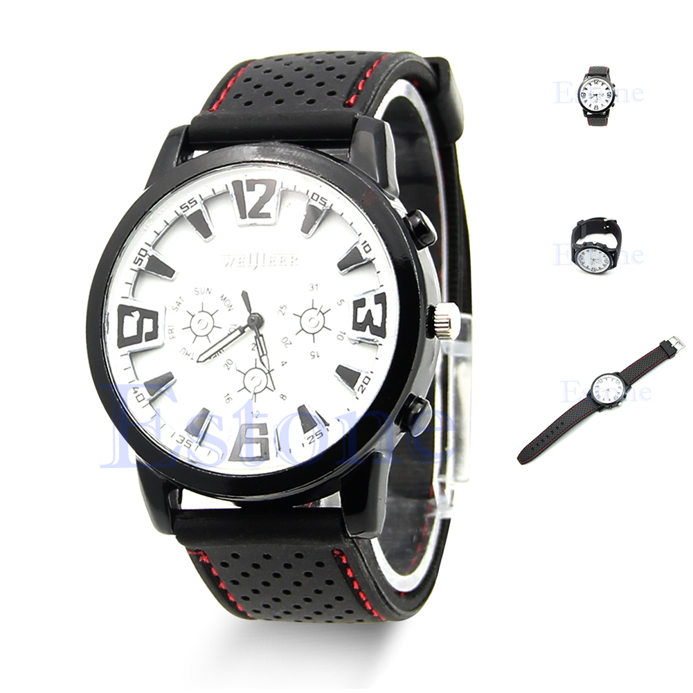 Men Outdoor Military Army Pilot Aviator Rubber Band Sports Wrist Watch 2 Colors