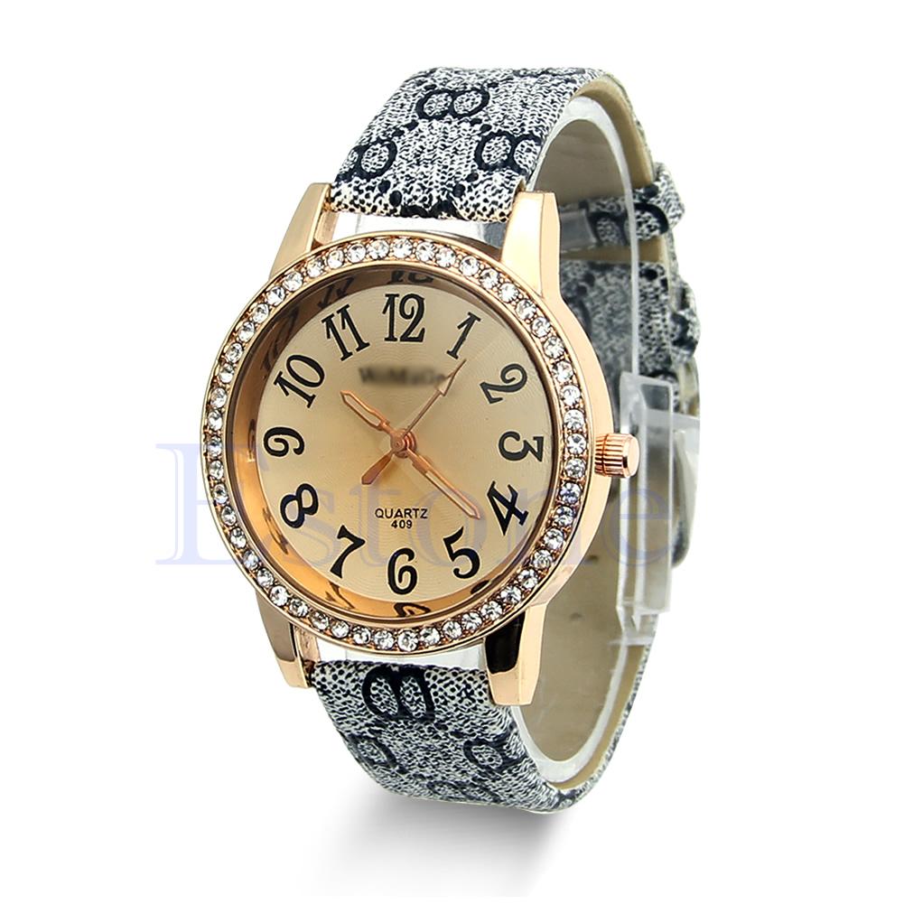 Luxury Gold Crystal Quartz Rhinestone Leather Wrist Watch Lady Women Fashion