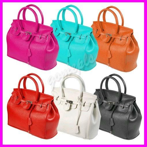 Elegant-Style-Women-Lady-Celebrity-PU-Leather-Tote-Handbag-Lock-Shoulder-bag