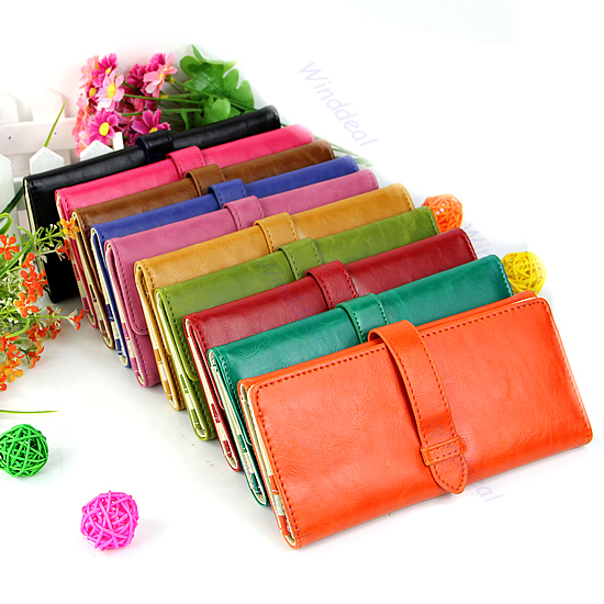 Vintage-Candy-Color-Women-Leather-Pure-Wallet-Purse-Long-Clutch-Handbag-Bag-Hot