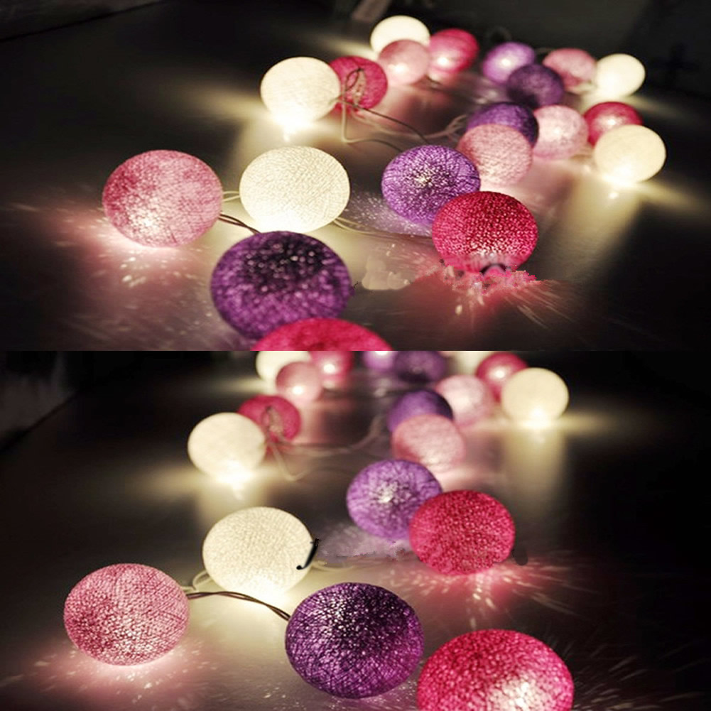3M 20 Globe Cotton Ball String Party Fairy Decor Christmas Wedding Light 3Colors