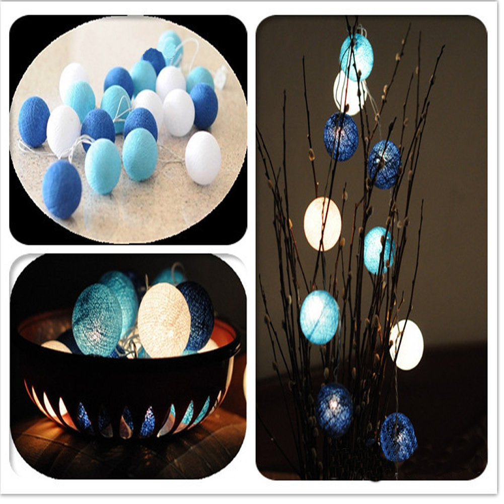 3M-20-Globe-Cotton-Ball-String-Party-Fairy-Decor-Christmas-Wedding-Light-3Colors