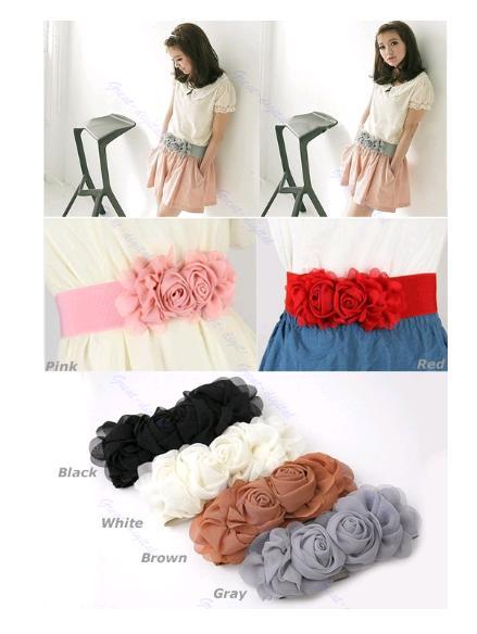 Fashion-Chiffon-Double-Rose-Flower-Buckle-Style-Elastic-Belt-Waistband-5-Colors