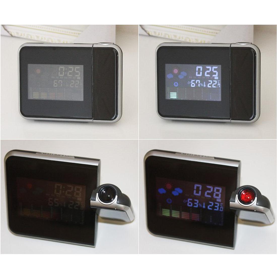New LED Backlight Digital Weather Projection Snooze Alarm Clock Color