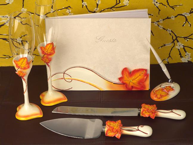 Splendid Autumn Fall Orange Wedding Guest Book Pen Kinfe Flute Glasses ...