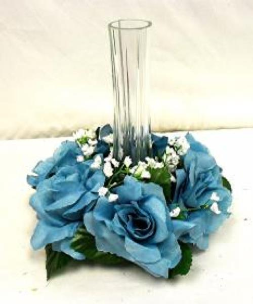 Turquoise blue candle rings silk roses wedding flower