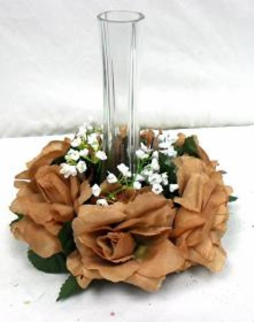 Brown candle ring silk roses wedding flower centerpiece