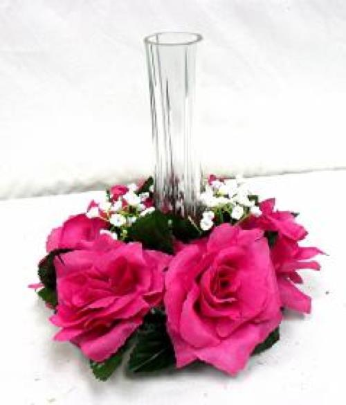 Fuchsia pink candle ring silk roses wedding flower
