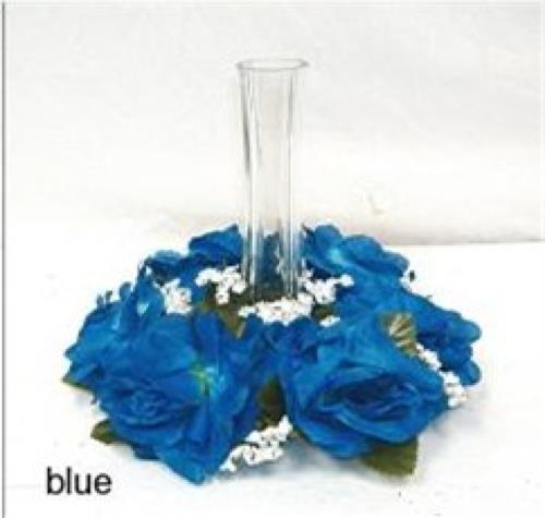 Royal blue candle rings silk roses wedding flower