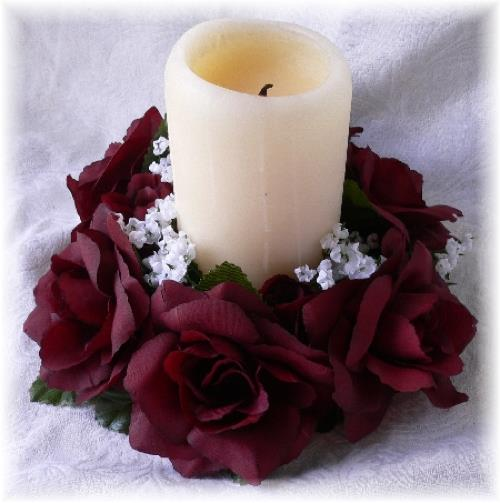 Wine burgundy candle rings silk roses wedding flower