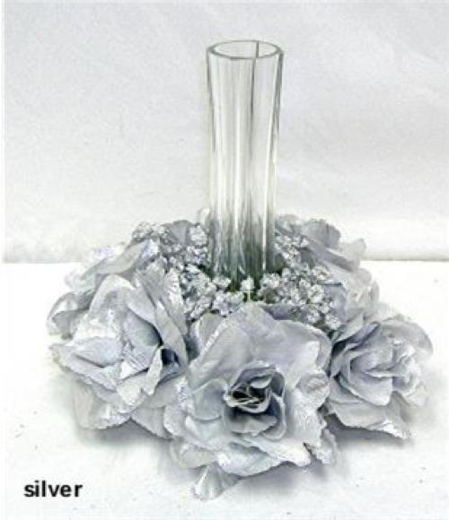 6 SILVER CANDLE RINGS Silk Roses Wedding Flower Centerpiece Unity 25 Anniversary
