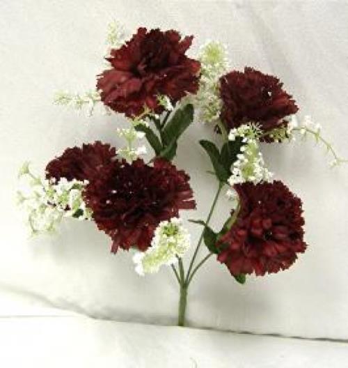 Wine burgundy carnations wedding bridal bouquet silk