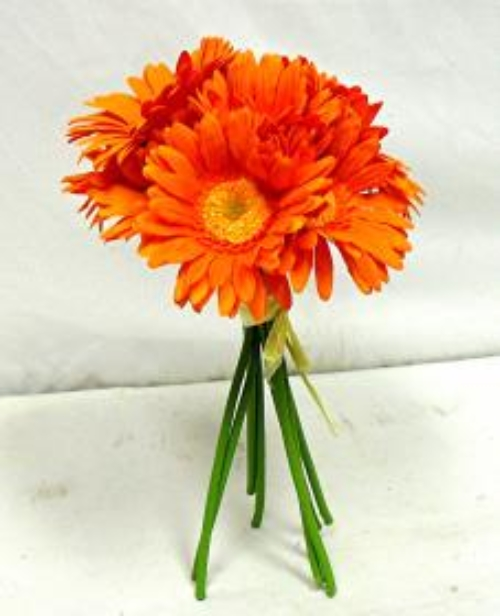Silk Orange Fall Flowers: GERBERA DAISY ORANGE Wedding Bridal Bouquet Autumn Fall