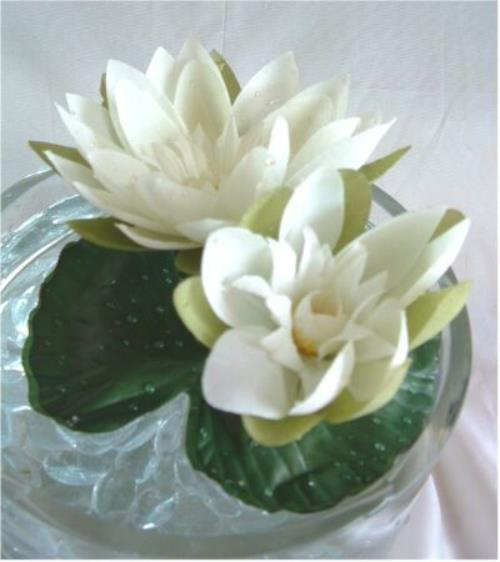 Floating Lily Centerpiece Ideas: Floating Silk Water Lily CREAM Pond Fountain Wedding