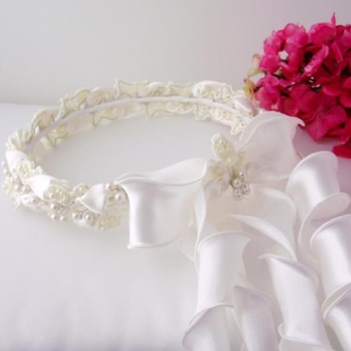 Details About IVORY Pearl Wedding Flower Girl Halo Communion Wreath