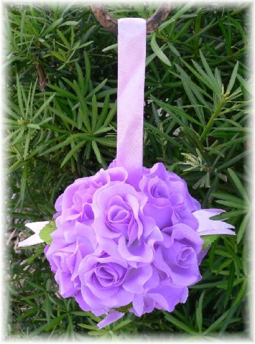 Wedding Flower Balls on Lavender Rose Balls Pew Bow Wedding Silk Flower Girl Pomander