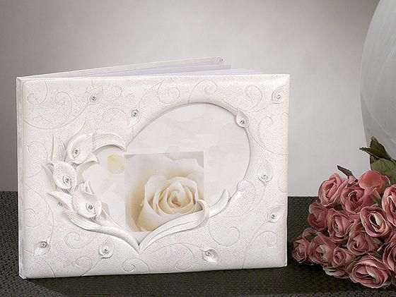 2 pc calla lily crystal wedding guest book  pen set