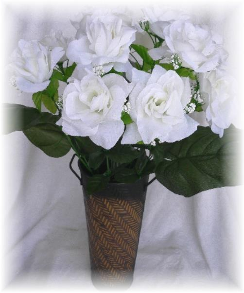How Long Should Bridal Bouquet Stems Be : Open roses off white long stem silk rose wedding bridal