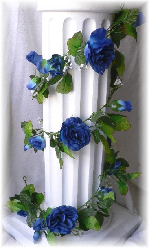 blue rose garland arch gazebo silk wedding flowers pew chair artificial vines ebay. Black Bedroom Furniture Sets. Home Design Ideas