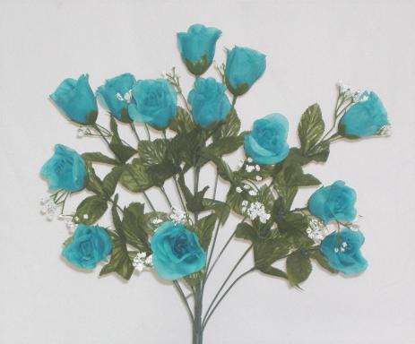 14 turquoise blue long stem silk rose bud silk flowers ebay for Blue long stem roses