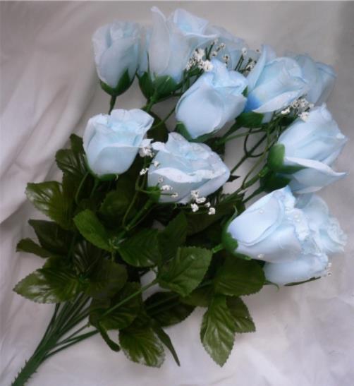 84 light blue long stem silk roses buds wedding bouquet for Blue long stem roses