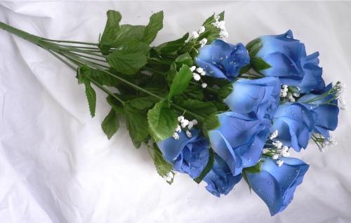 14 roses cornflower blue long stem silk flower bush for Blue long stem roses