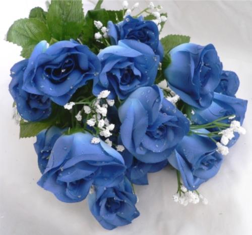 84 cornflower royal blue long stem silk rose buds wedding for Blue long stem roses