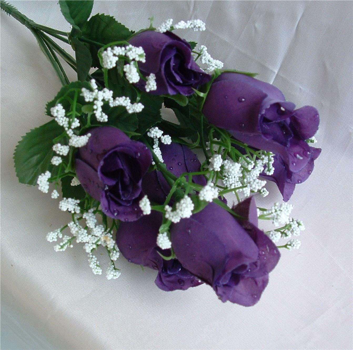 Purple silk roses buds wedding bridal bouquet flowers