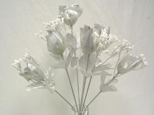 Roses Buds Wedding Bouquet Flowers 25th Anniversary Centerpiece EBay