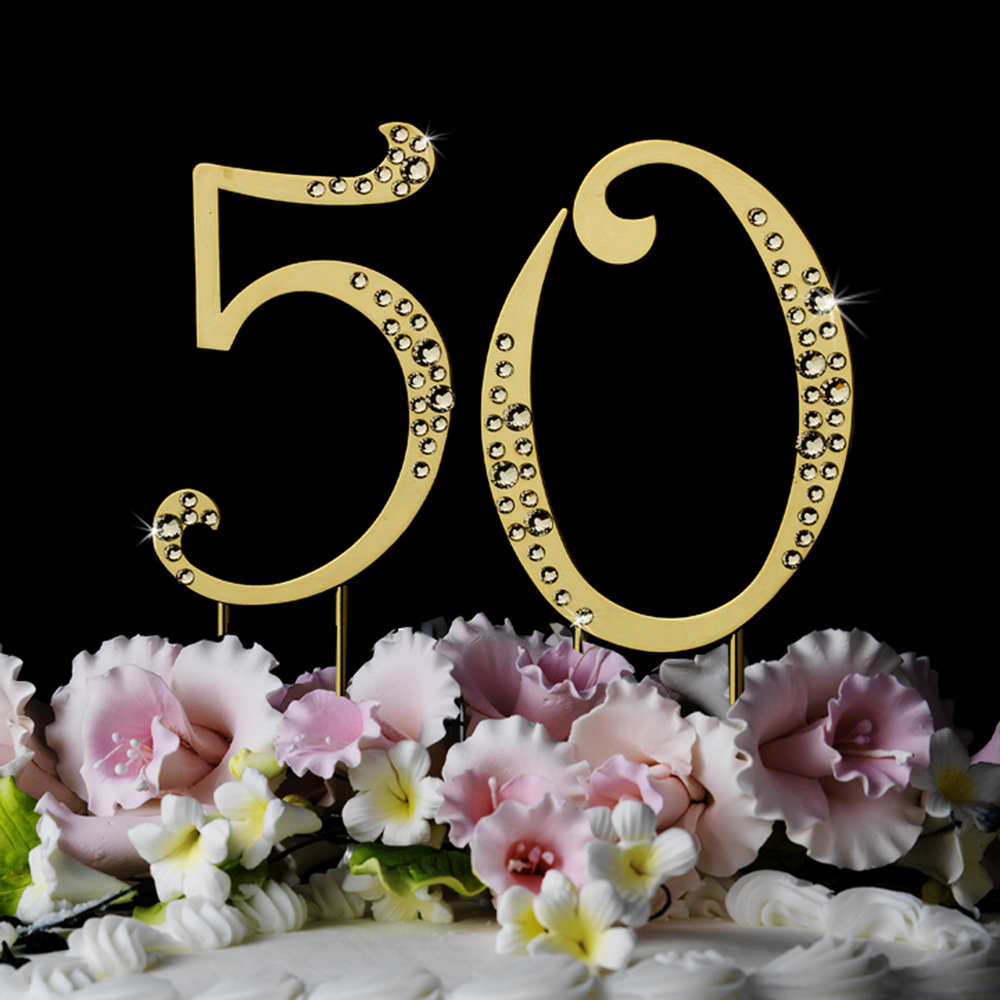 Details about 50th Anniversary Birthday Crystal Wedding Cake Topper