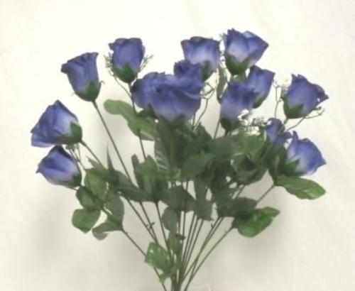 14 silk roses blue long stem flower bush wedding bridal for Blue long stem roses