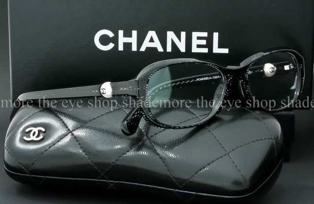 e83cef4460 eyeglass frame black crepe embedded crystal frame chanel logo pearl ...