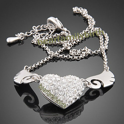 18k white gold GP SWAROVSKI Crystal angel wing necklace N20