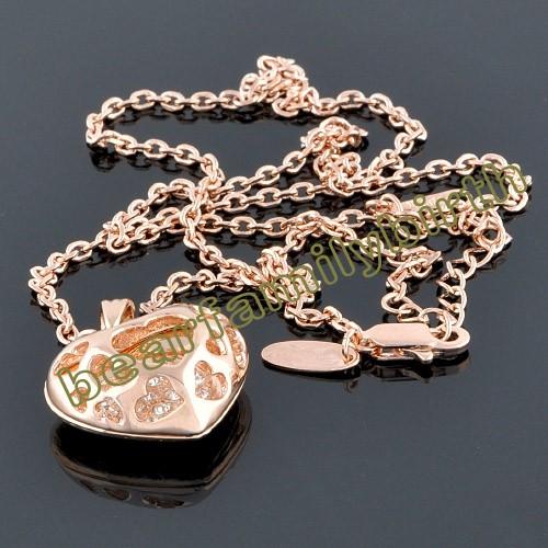 18K gold GP SWAROVSKI Crystal heart necklace 568