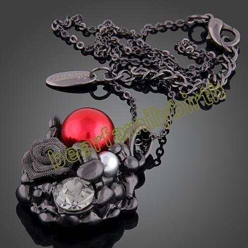 18K gold Gp Swarovski Crystal rose jewelry set 751