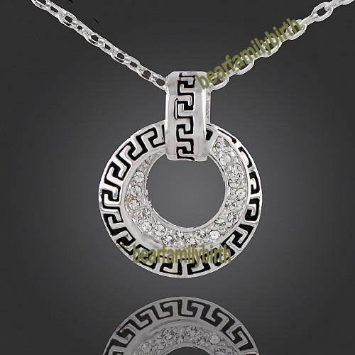 18K white gold Gp Swarovski Crystal modern necklace 830