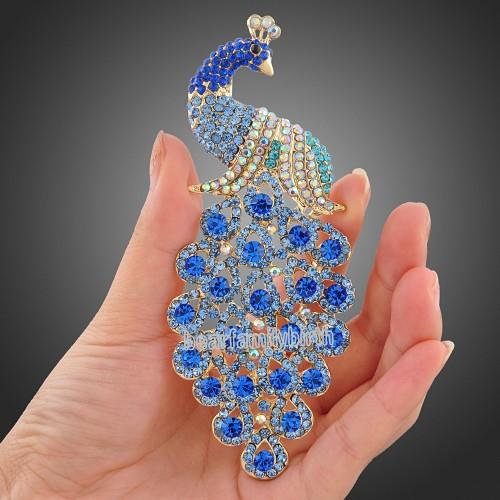 Swarovski crystal blue Peafowl peacock brooch pin jewelry X12