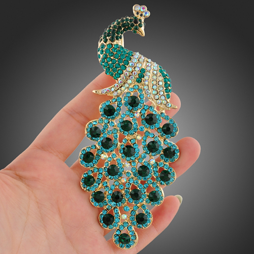 92Swarovski Crystal Green Peafowl Peacock Brooch Pin Jewelry X55