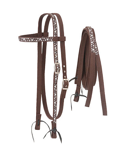 HORSE-WESTERN-TOUGH1-NYLON-SILVER-STARS-TRIM-BRIDLE-FULL-SIZE-BROWN
