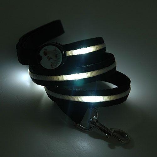 LED Optical Fiber Light Adjustable Lockable Nylon Pet Dog Collar Leash
