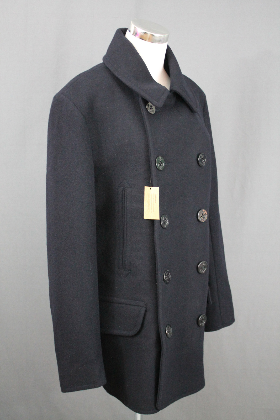 J.Crew Mens Dock Peacoat $288 Wool XS Navy Winter Coat Thinsulate