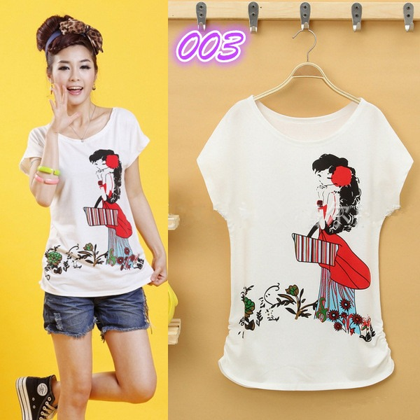Hot sell women lady girls korean style short sleeve loose for Sell shirts on your website