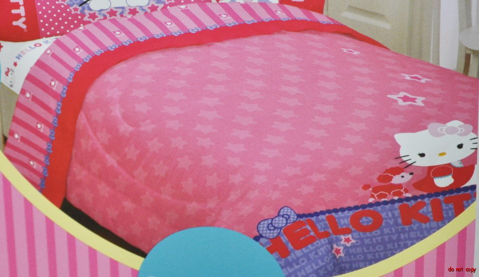 NEW GIRLS HELLO KITTY BEDDING SINGLE BED PADDED DUVET SHEET SET