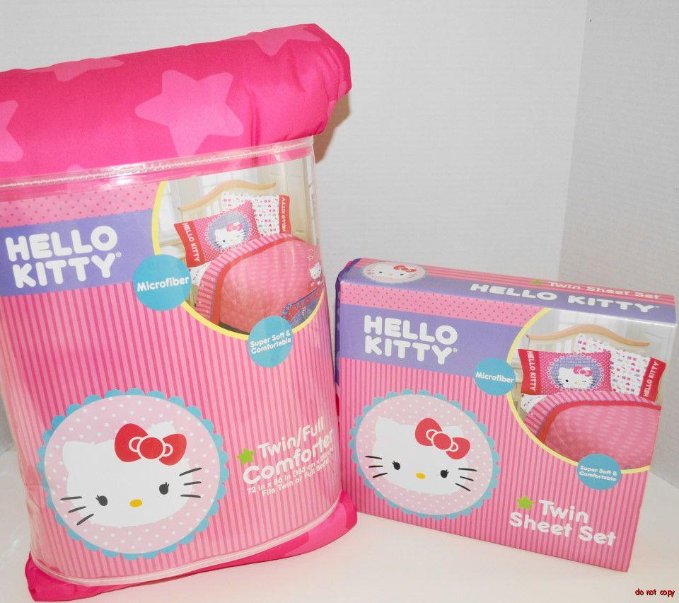 NEW GIRLS HELLO KITTY BEDDING SINGLE BED PADDED DUVET SHEET SET