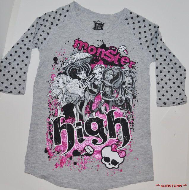 New Monster High Girls Polka Dot Shirt Top Size 10 12