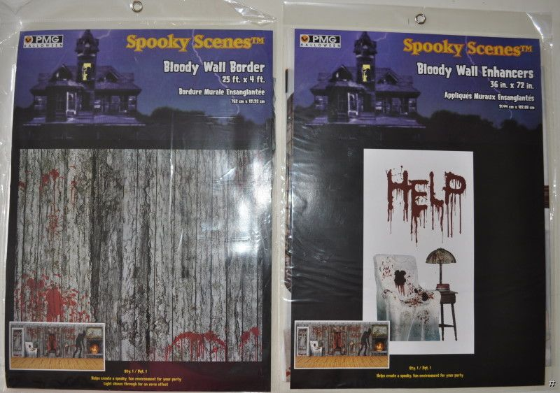 Halloween party haunted house decorations bloody wall for Bloody wall mural